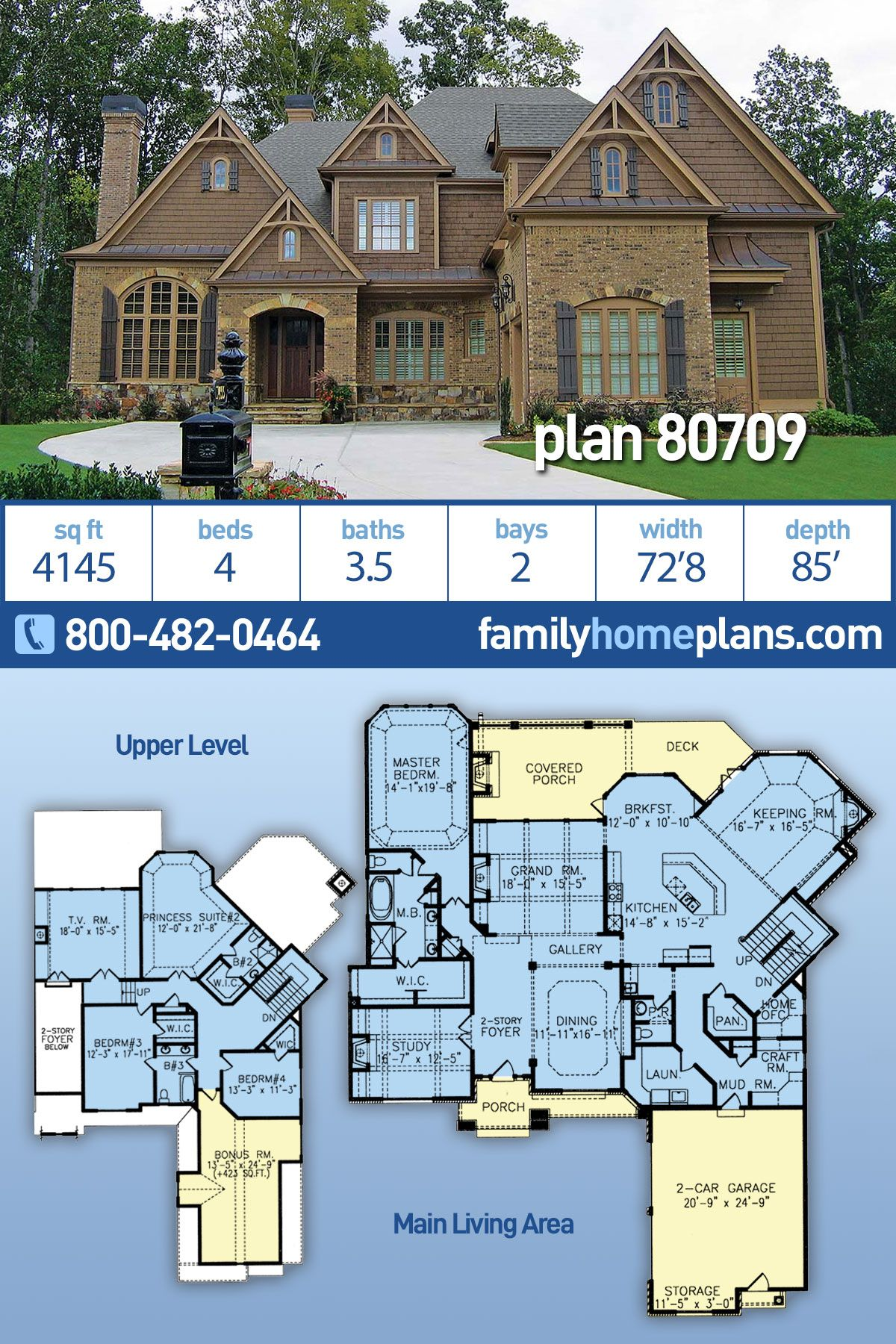 French Country Style House Plan 80709 With 4 Bed 4 Bath 2 Car Garage Country Style House Plans French Country House Plans House Plans