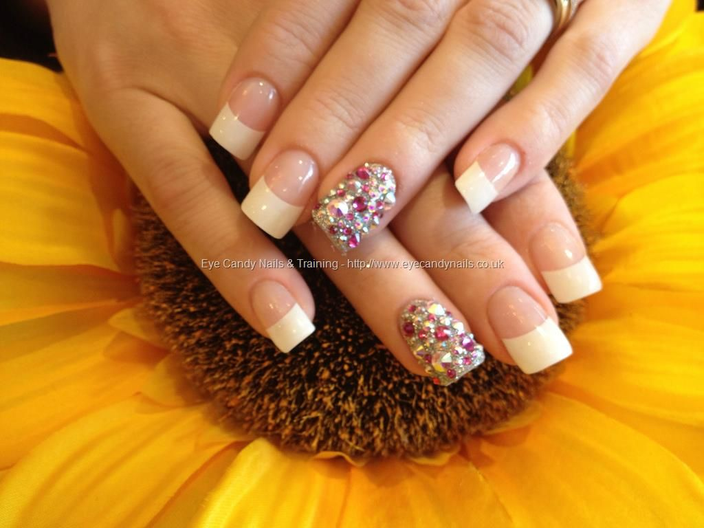 Full set of acrylic nails with white tips and Swarovski crystals on ...