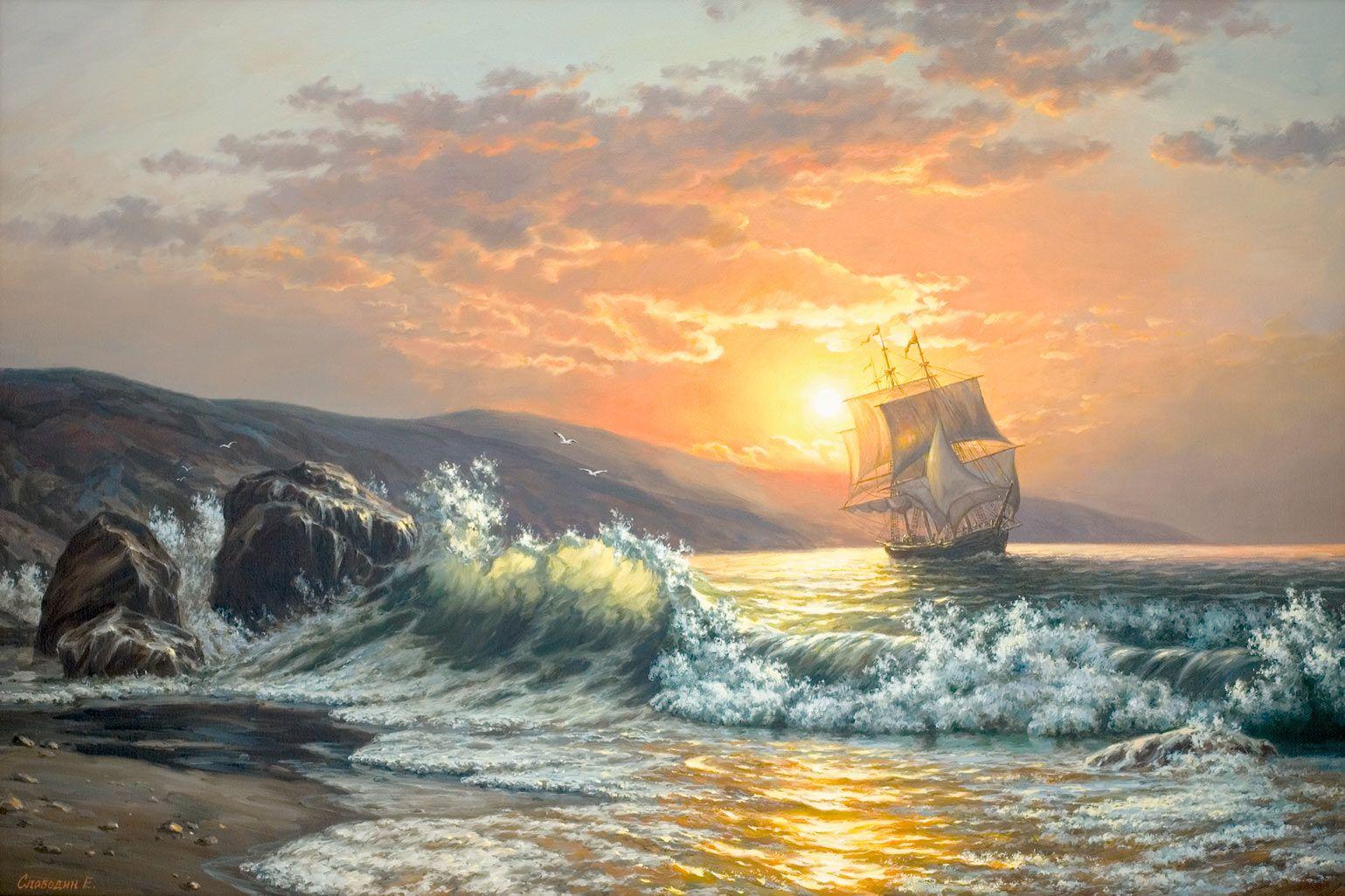 морские пейзажи картины - Поиск в Google Canvas Painting Landscape, Boat Painting, Seascape Paintings, Landscape Art, Ship Paintings, Sea Art, Art Pictures, Art Photography, Canvas Art