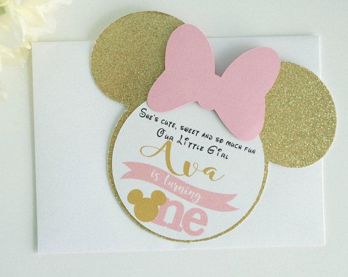 Minnie Mouse Invitation Pink And Gold Minnie Mouse