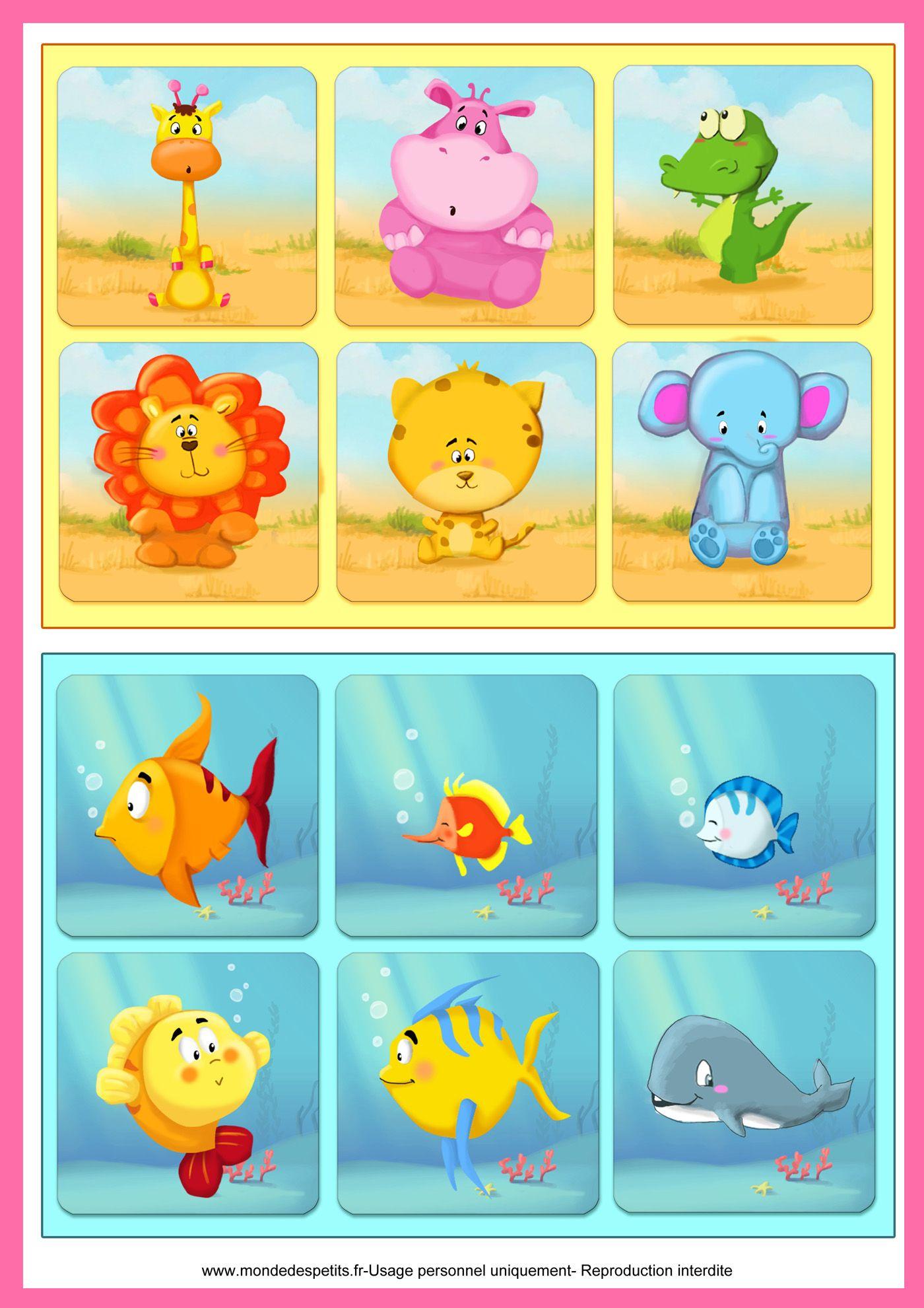 Jeu de loto à imprimer pour apprendre les animaux   Jeux de société, Petit jeux, Loto enfant