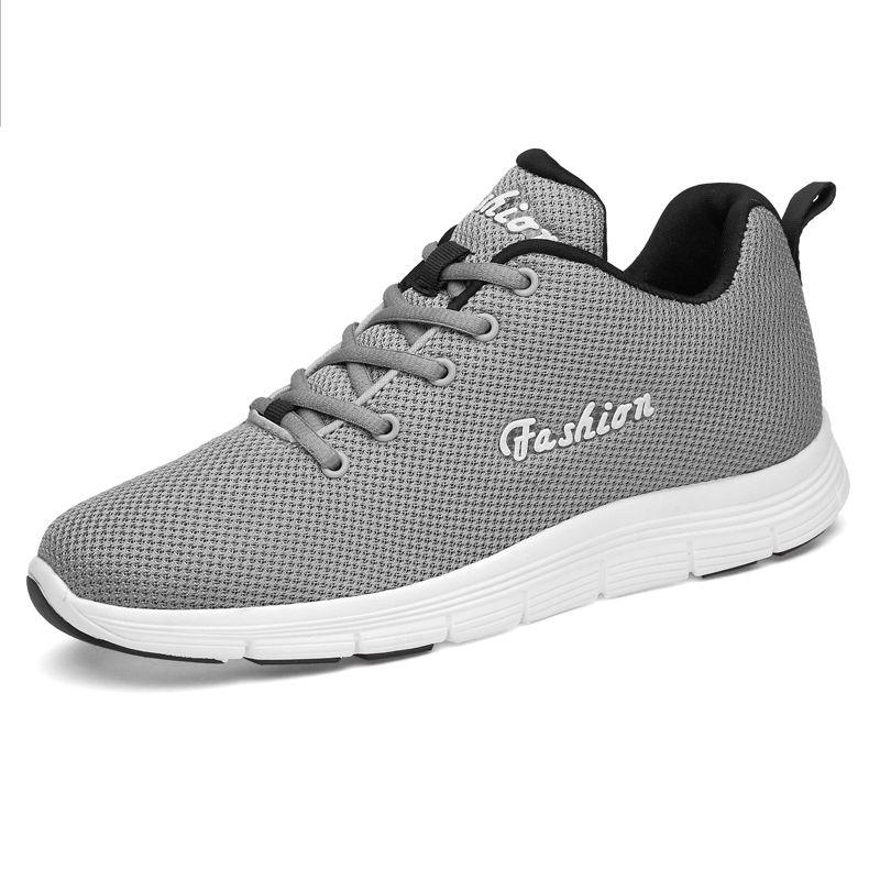 57283f9aa81 Grey Fashion Elevator Tennis Shoes Breathable Knit Mesh Walking ...