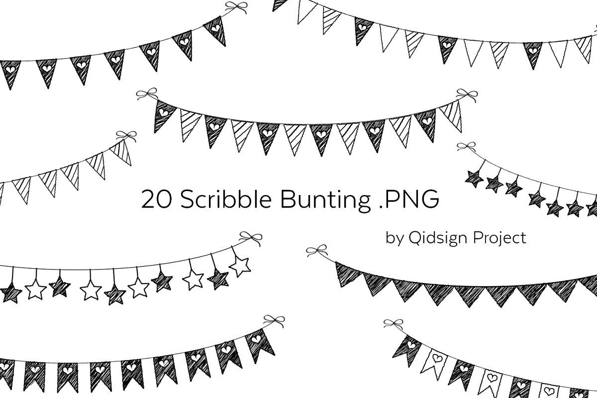 20 Scribble Bunting Png Birthday Clipart 242633 Illustrations Design Bundles Clip Art Birthday Clipart Greeting Cards Handmade