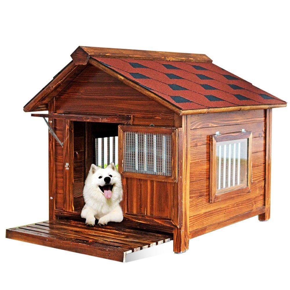 Joicyco Dog House Hardwood Pet Home Rainproof Sun Protection Keep Warm Golden Retriever Samoyed Medium And Large Dog Cool Dog Houses Dog House Heated Dog House