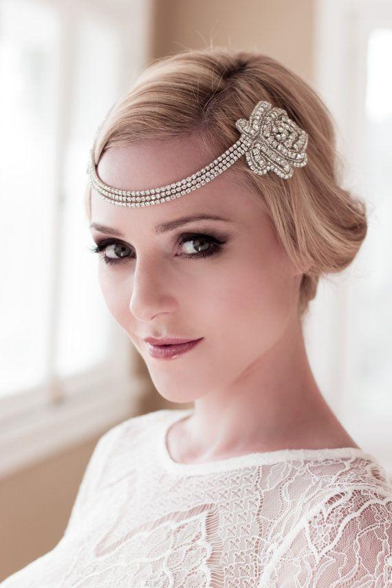 Art Deco Bridal Headpiece with Vintage Black or by veiledbeauty ...