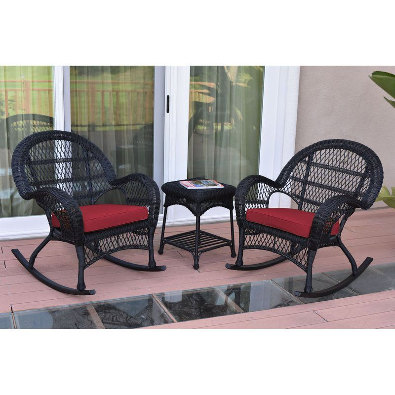 Mangum 3 Piece Conversation Set With Cushions Outdoor Wicker Furniture Rocker Chairs Wicker Rocker