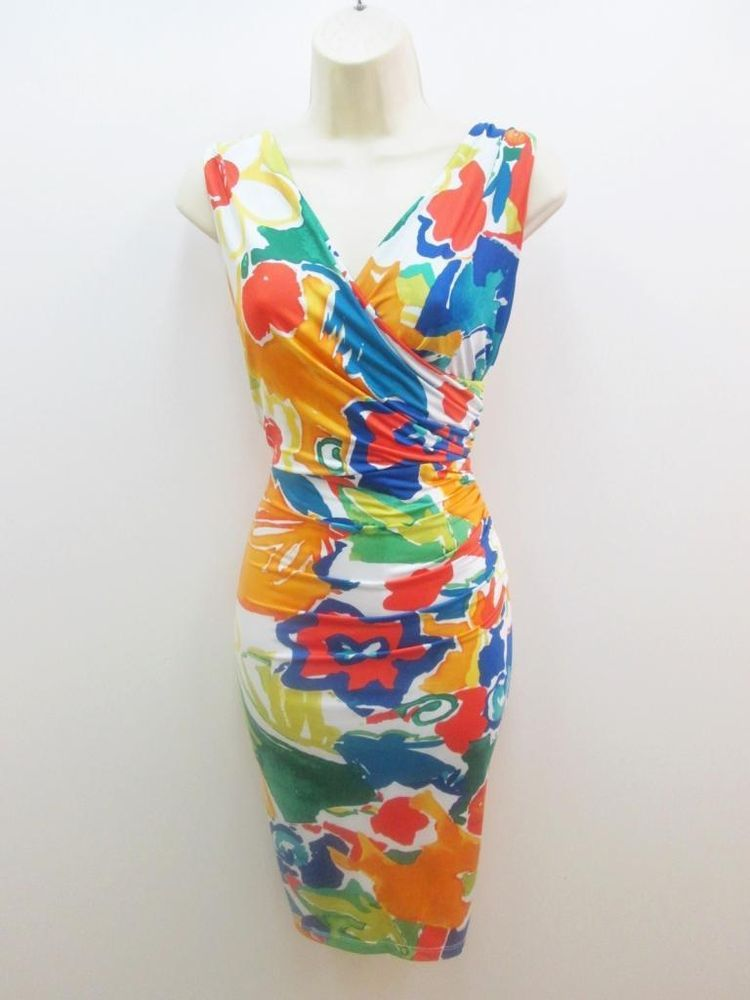 Ralph Lauren Multicolor Floral Stretch Sleeveless Empire Waist Cocktail Dress