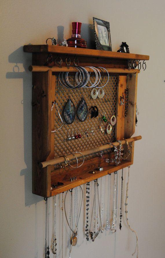 LARGE Jewelry Holder Wall Mounted Jewelry Organizer by MrandMissis