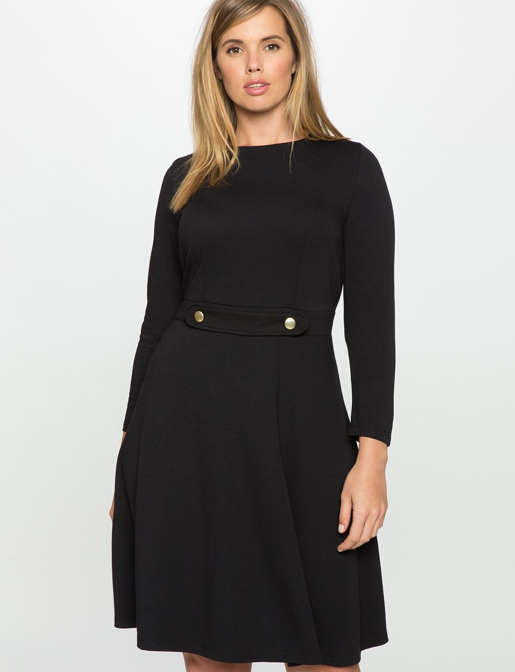 Long Sleeve Fit And Flare Dress With Button Detail Women S Plus Size Dresses Eloquii Plus Size Dress Outfits Fit And Flare Dress Flare Dress [ 1370 x 1050 Pixel ]