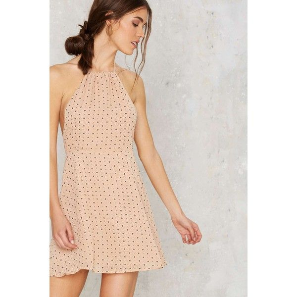 Tara Halter Mini Dress (250 BRL) ❤ liked on Polyvore featuring dresses, beige, beige dress, short halter dress, halter-neck tops, halter-neck dress and halter top