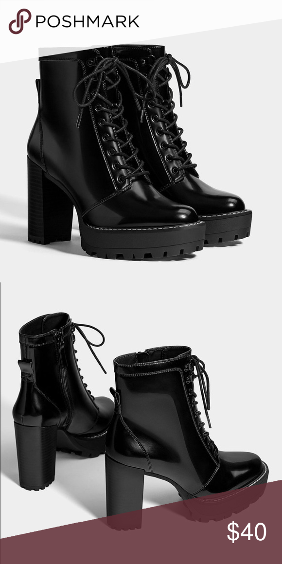 8f34741981 bershka platform high-heel ankle boots black ankle boots with glossy ...