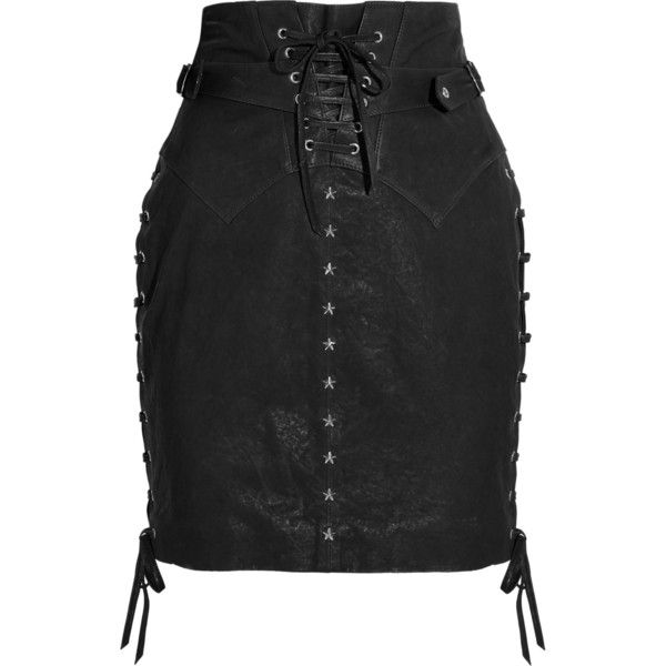 Isabel Marant Yaele lace-up leather skirt ($495) ❤ liked on ...