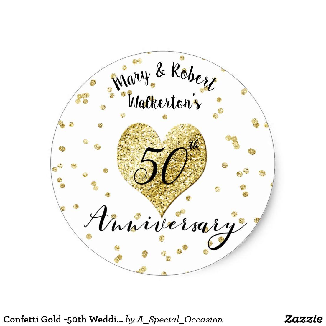Confetti Gold 50th Wedding Anniversary Sticker Zazzle Com 50th Wedding Anniversary Wedding Stickers 50th Wedding