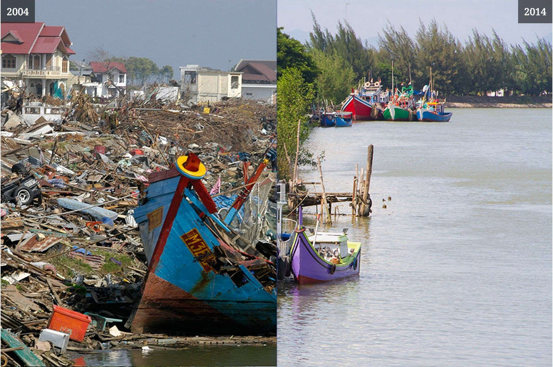 Interactive Before After Images 10 Years After The Boxing Day Tsunami Of 2004 With Images Tsunami 10 Years After Boxing Day