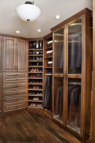 Superbe Traditional Closet With Valet Custom Cabinets And Closets, Hardwood Floors,  High Ceiling, Flush Light, Built In Bookshelf