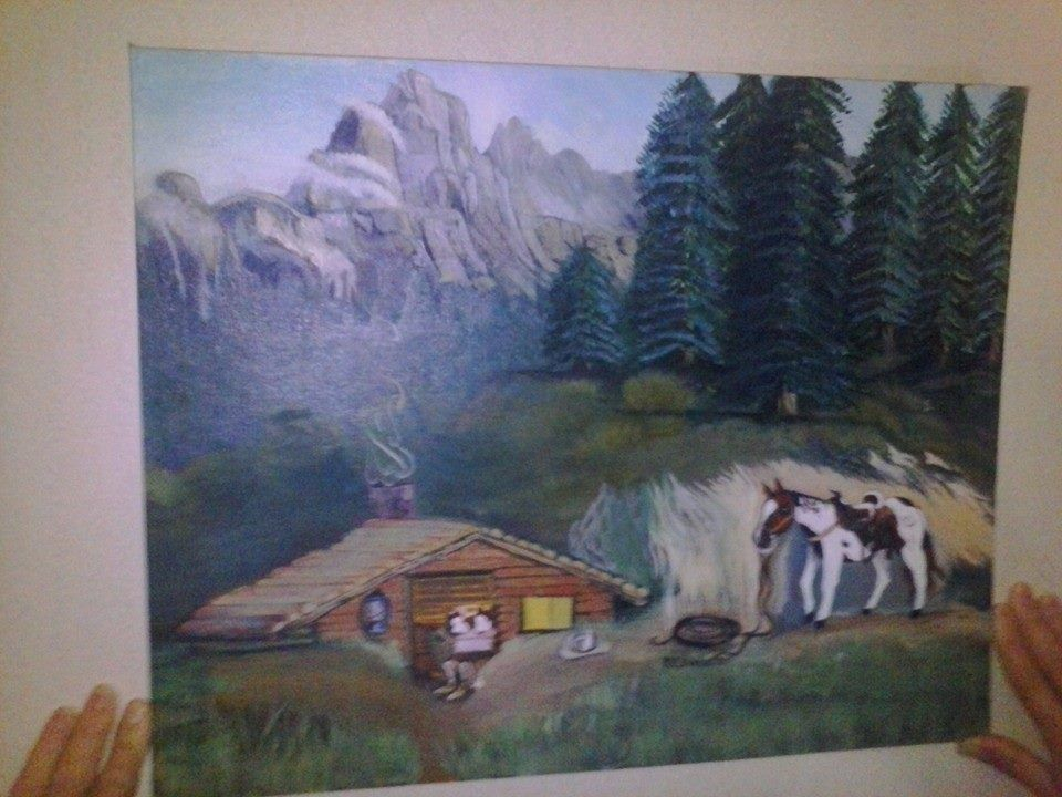 """"""" A Vet at Rest"""" by RV Webster A  cabin and a horse in the mountains"""