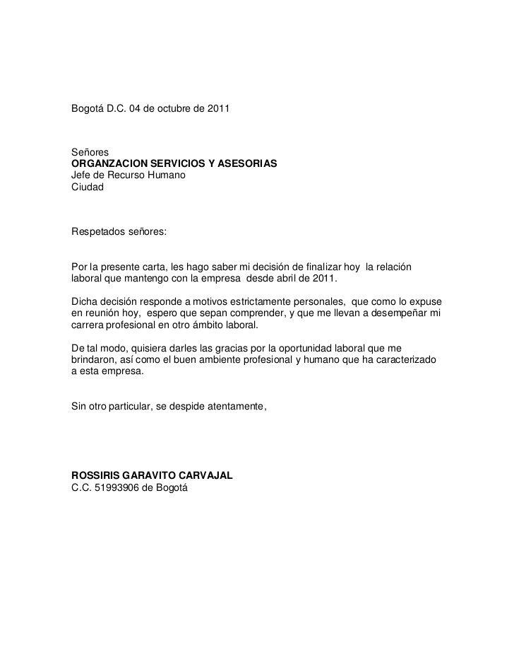 carta de renuncia laboral - Buscar con Google