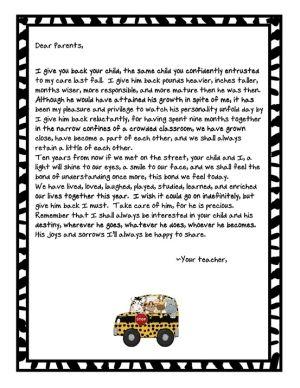 teacher letters to parents