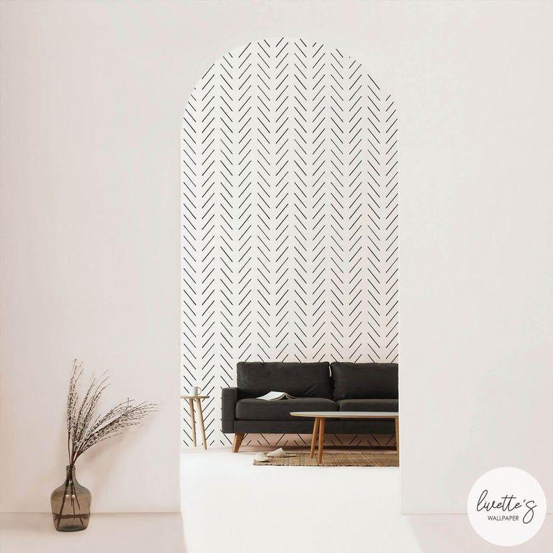 Modern Delicate Herringbone Wallpaper In Black And White Etsy Herringbone Wallpaper Removable Wallpaper Traditional Wallpaper