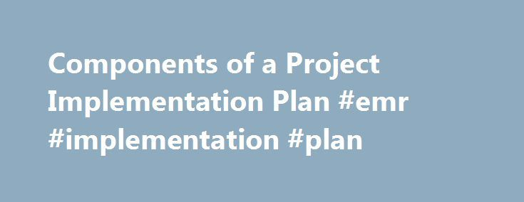 Components Of A Project Implementation Plan Emr Implementation