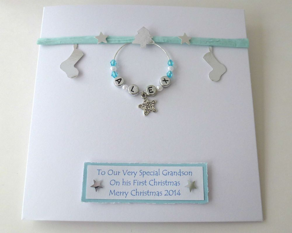 Handmade Personalised Baby/'s First  Christmas Card