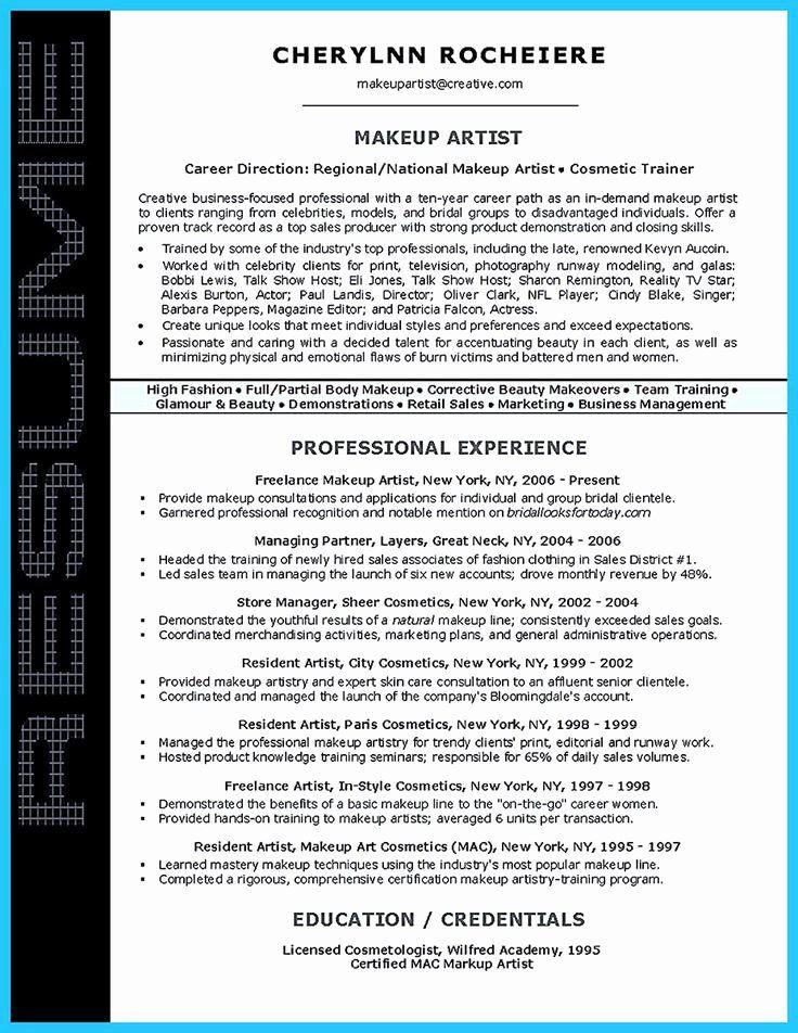 Freelance makeup artist resume fresh if you are an artist