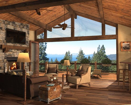 Stunning Cabin Design With Scenic View Rustic Living Room With Stunning View Awesome Cabin Remodel Cabin Design Cozy House Rustic Living Room