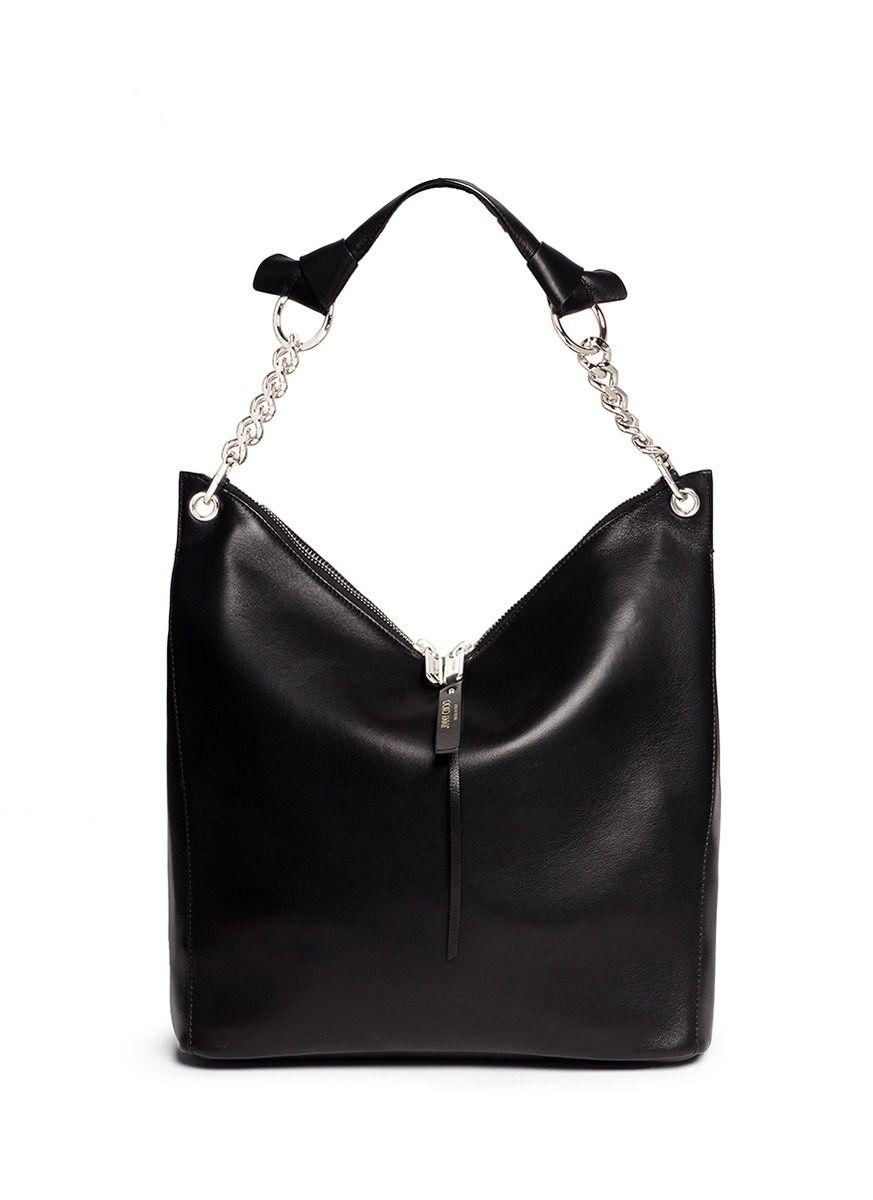 JIMMY CHOO 'Raven' Large Leather Shoulder Bag. #jimmychoo #bags #shoulder bags…