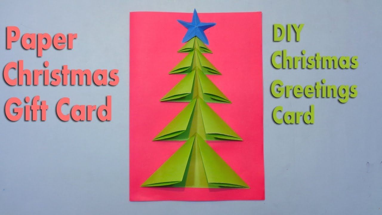 How To Make Paper Christmas Tree Greetings Card Christmas Crafts Diy Paper Crafts Diy Christmas Crafts Diy Diy Christmas Cards