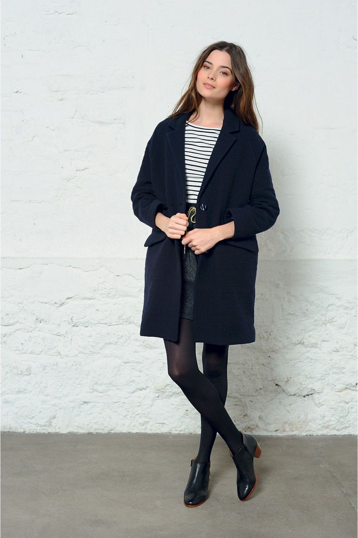 manteau femme oversize bleu marine