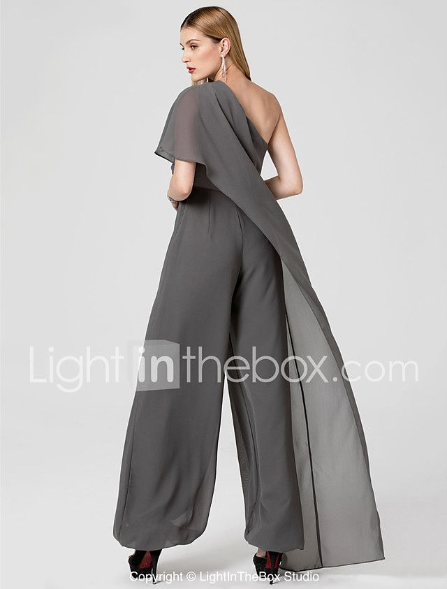 Jumpsuit One Shoulder Floor Length Chiffon Formal Evening Dress With