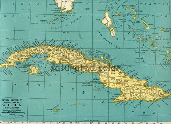 Bahamas caribbean jamaica cuba map vintage butter yellow soft bahamas caribbean jamaica cuba map vintage butter yellow soft turquoise aqua original 1940s vintage map of cuba gumiabroncs Images