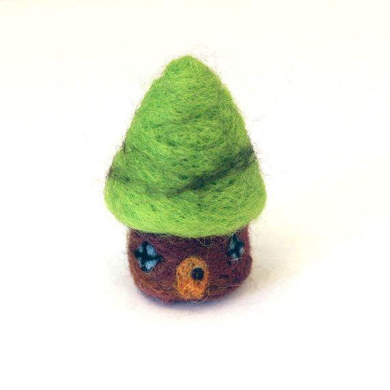 Handmade Needle Felted Tiny Gnome House by Karen Watkins kmwatkins on Etsy