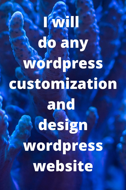 I will do any wordpress customization and design wordpress