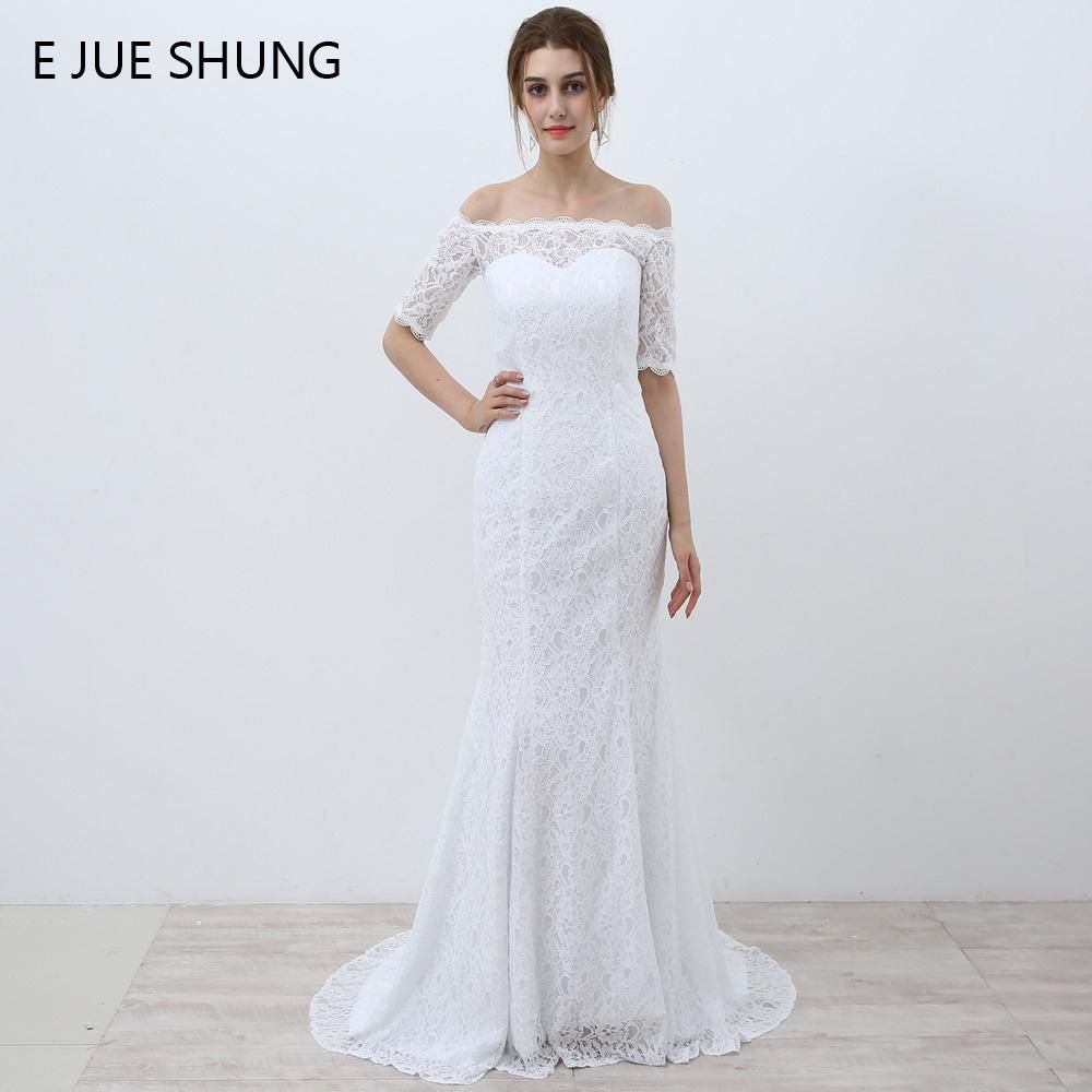 E jue shung white vintage lace cheap mermaid wedding dresses