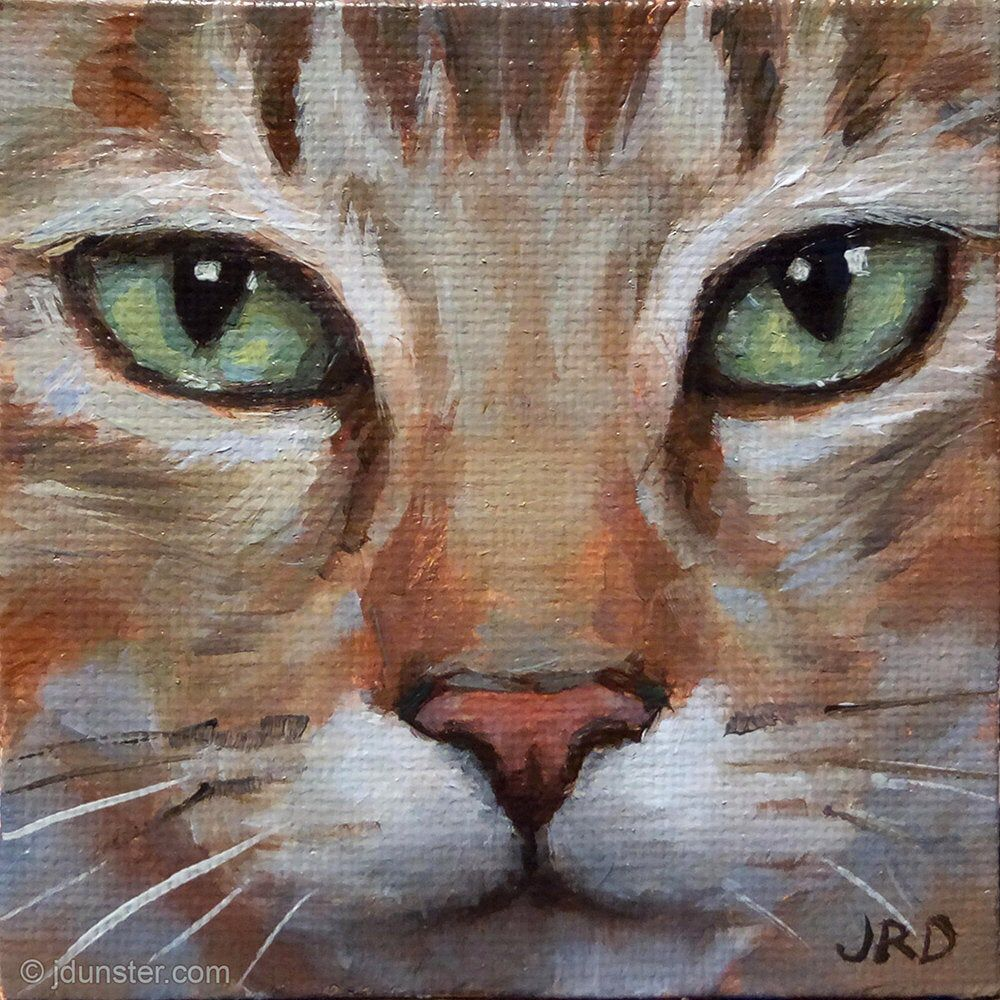 "Emerald Eyes Mini 3x3"" cat portrait oil painting on"