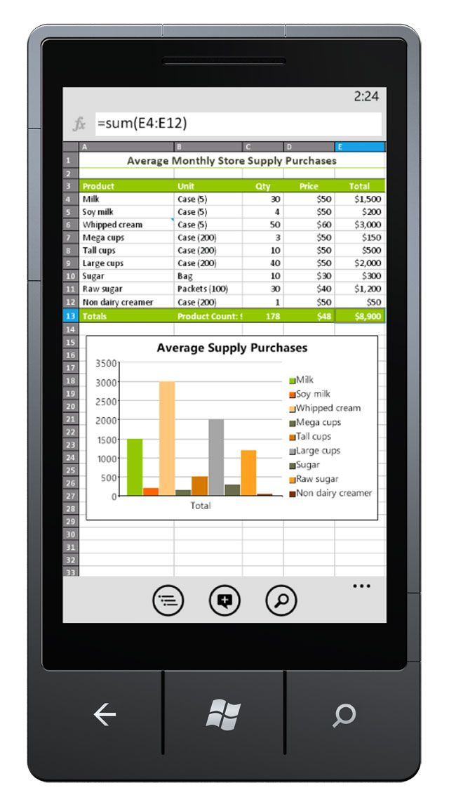 Excel Mobile Part Of The Mobile Version Of Microsoft Office On