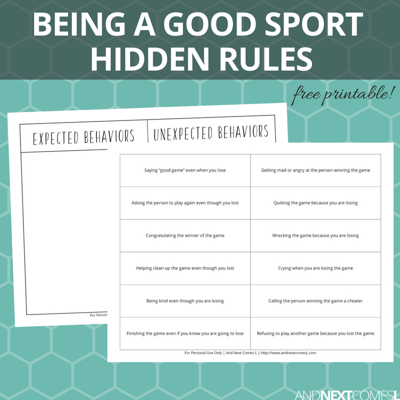 Free Printable Expected Unexpected Behavior Hidden Rules Social
