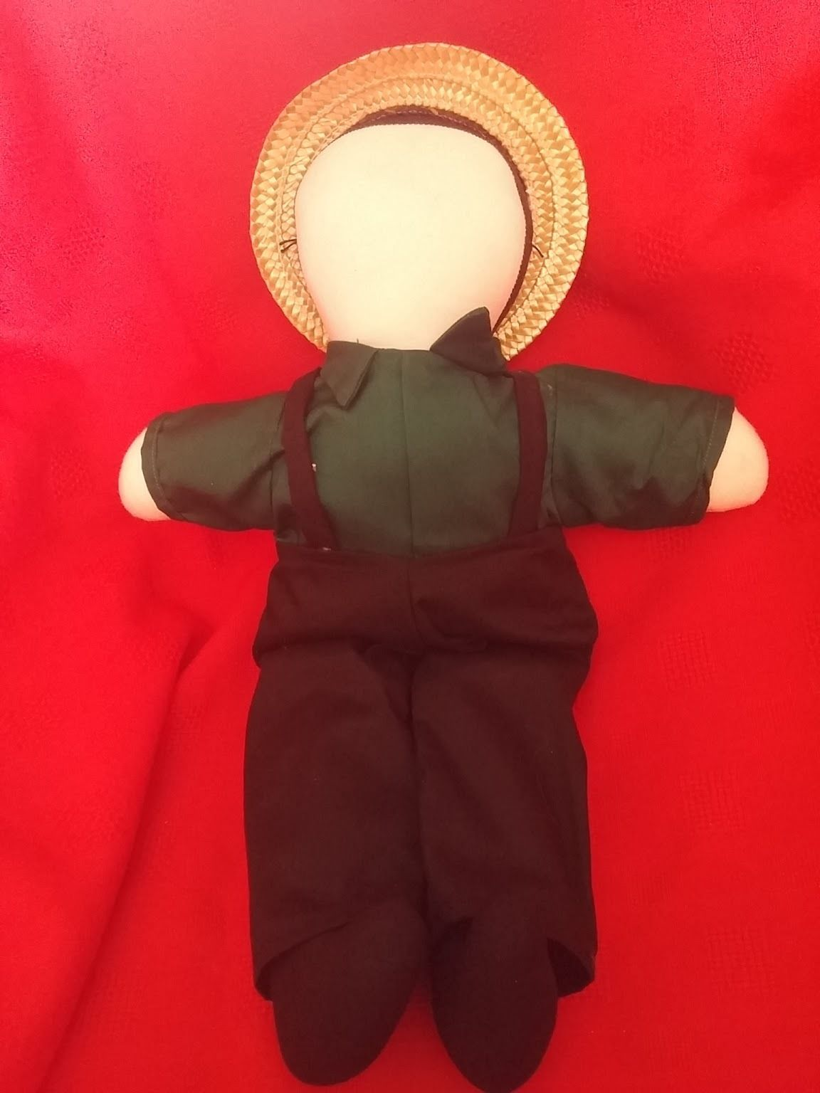 Amish #handmade faceless cloth doll man boy straw hat #green with ...