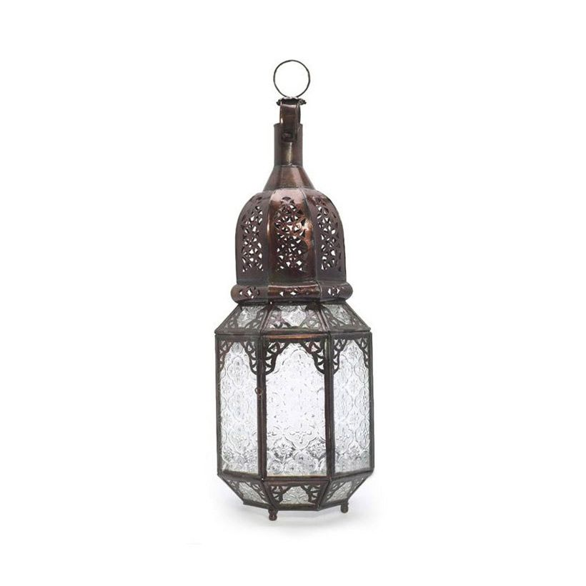 The Handmade Moroccan Hanging Lantern combines detailed colored glass with filigreed metal. Whether you hang it from a hook outside on your balcony or place it on a table in your kitchen, living room, ...  Find the Handmade Moroccan Hanging Lantern, as seen in the Bohemian Dreams Collection at http://dotandbo.com/collections/get-this-look-bohemian-dreams?utm_source=pinterest&utm_medium=organic&db_sku=cas0038 - wht