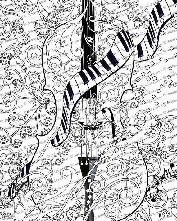 Adult Coloring Page Printable Violin By JuleezGallery