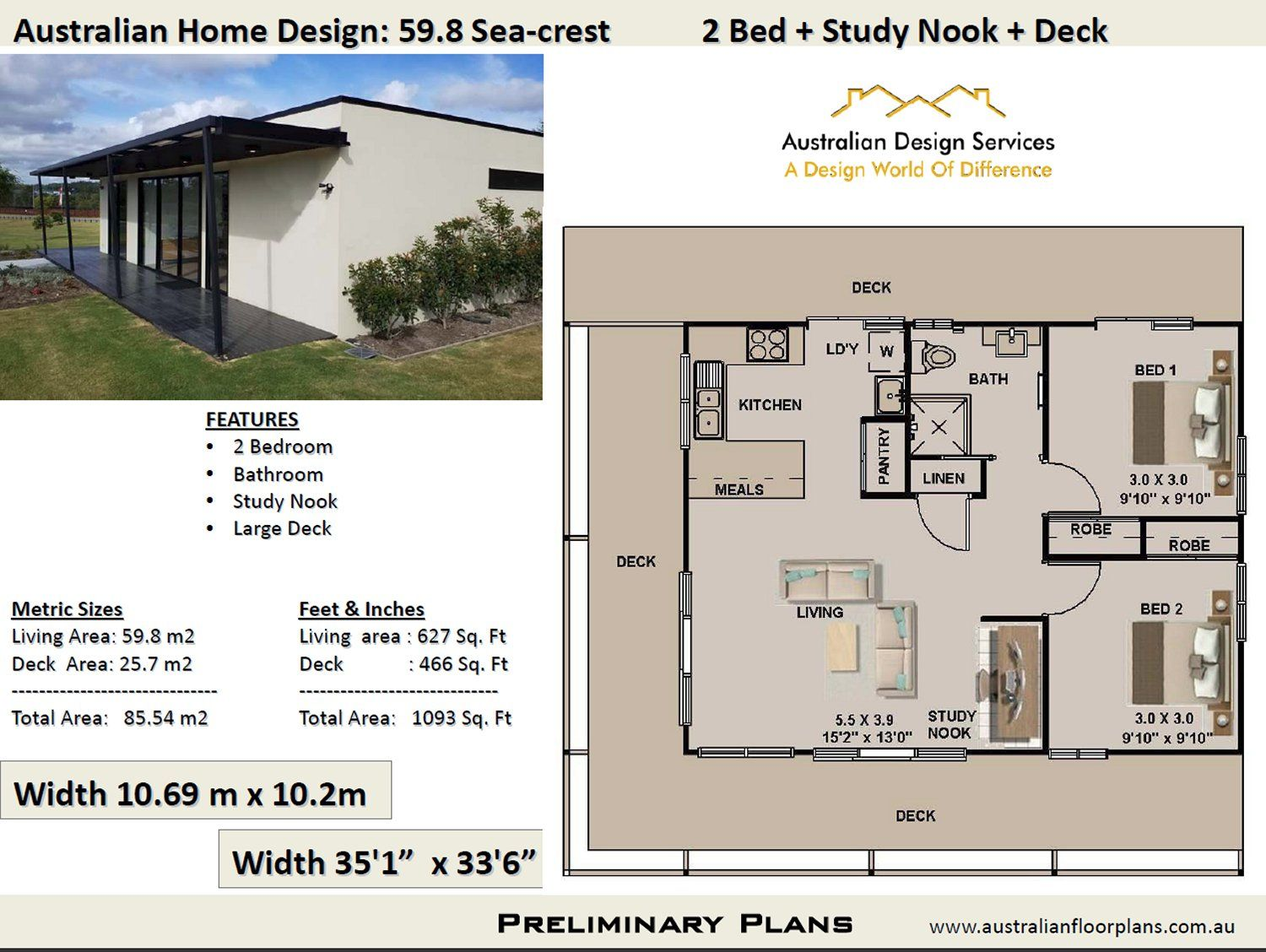 59 8 Seacrest 2 Bed House Plan 85 54 M2 Preliminary House Plan Set 4 House Plans Australia House Plans For Sale Free House Plans