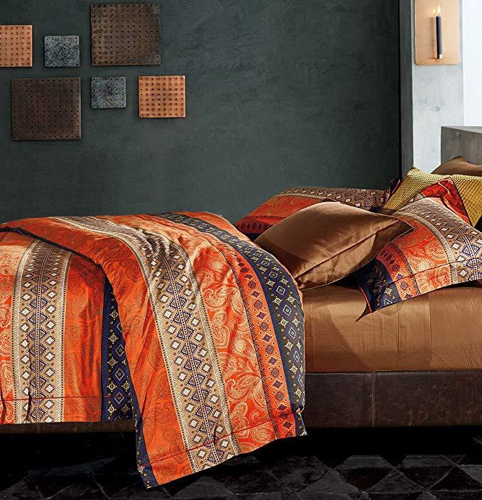 5 Piece Quilt Southwestern Texas Reversible Turquoise Aztec Bedspread Queen King