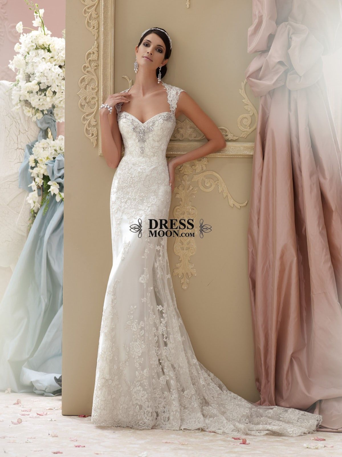 lace appliqué and tulle over soft satin slim A-line cage wedding dress with lace cap sleeves