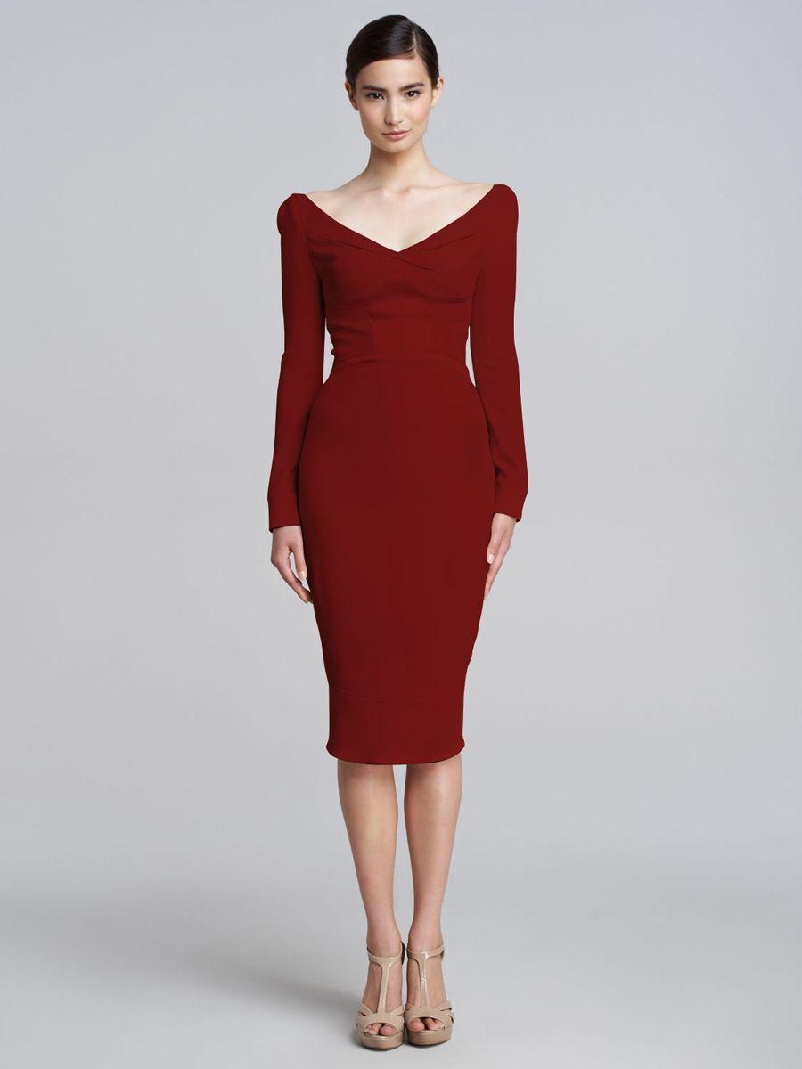 Prom-Dresses-Evening-Dresses-Satin-Panel-Long-Sleeve-V-Neck-Dress ...