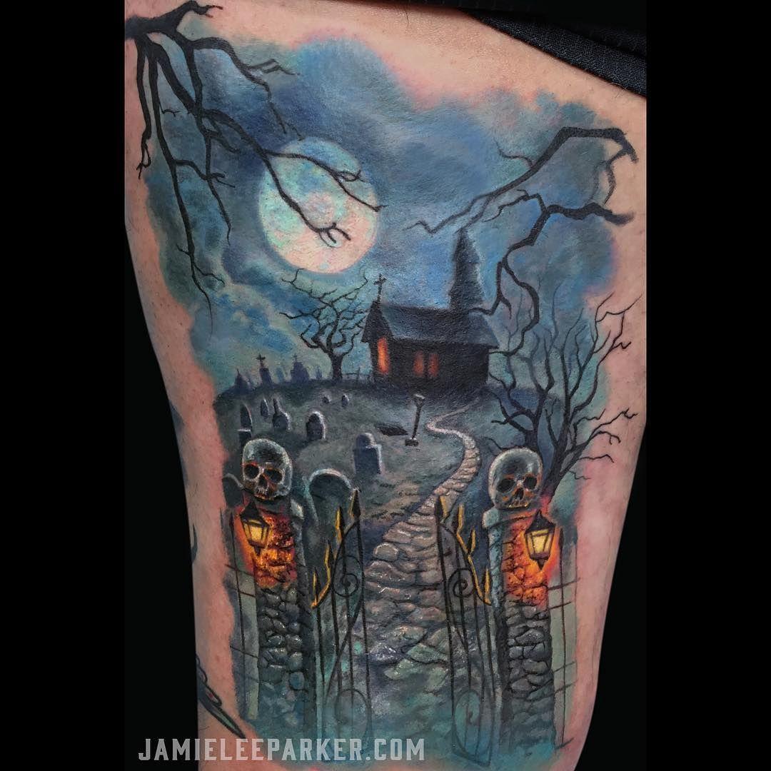 Perfectly Spooky Graveyard Scene From Jamieleeparker Tattooenvy Halloweentattoo Graveyard Graveyard Tattoo Halloween Tattoos Zombie Tattoos