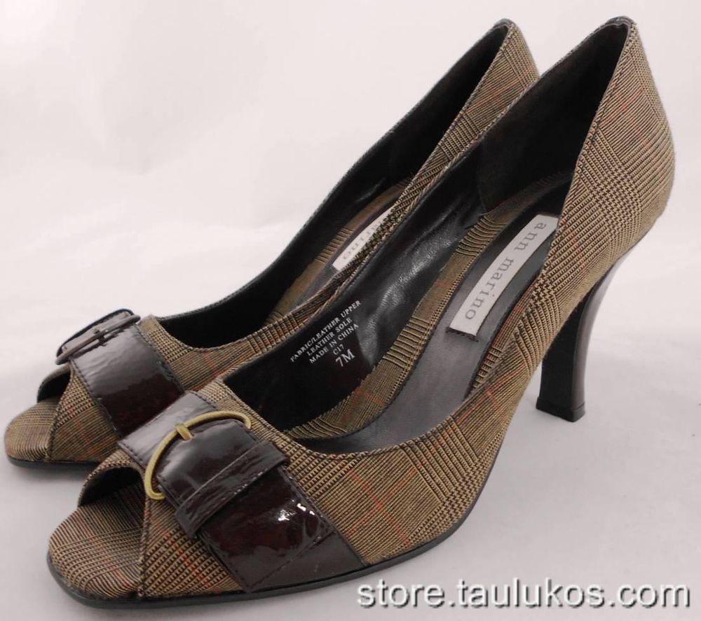 Womens shoes ANN MARINO High Heels Pumps Open Toe Dress Fabric Leather BROWN 7 M #AnnMarino #PumpsClassics