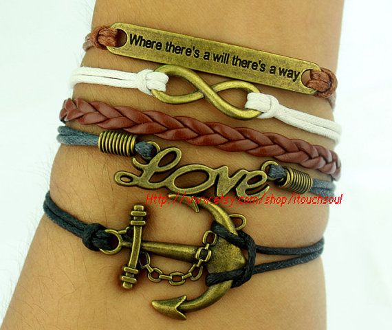 Anchor bracelet and infinite LOVE bracelet, bracelets, where there is a will there is a way bracelet, antique bronze charm, personalized