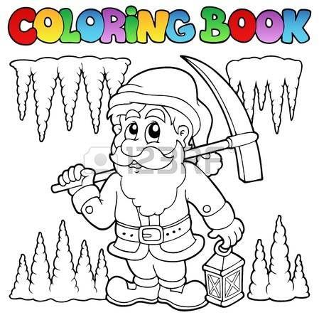 Minero Dibujo Libro Para Colorear De Dibujos Animados Enano