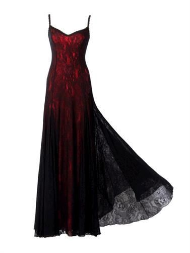 80f500c7b488 Victorian Style Michal Negrin Red and Black Dress with Spaghetti Strap  Laces